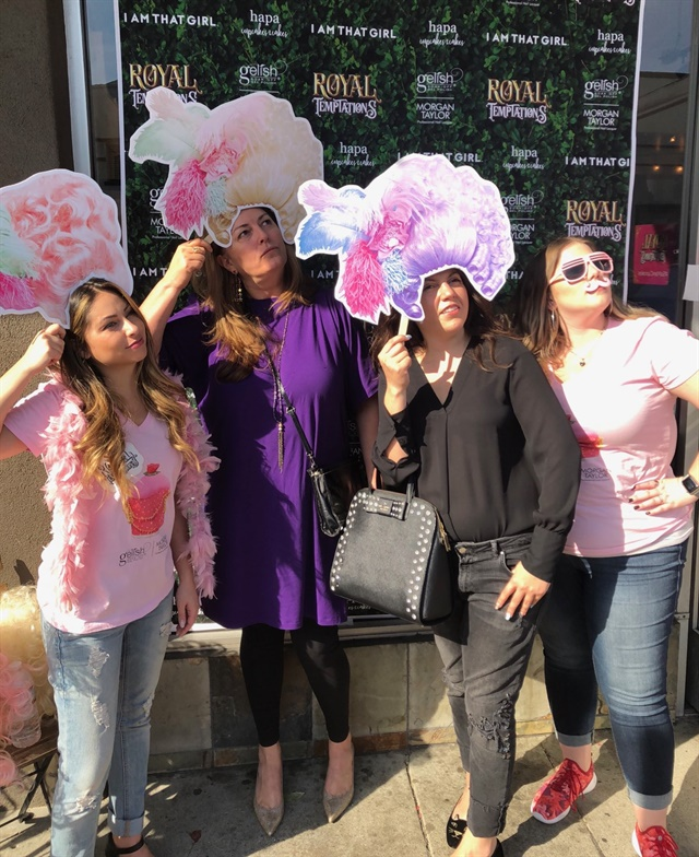 <p>Wigging out with Morgan Haile, NAILS publisher Michelle Mullen, and Taylor Daniel (far right)</p>