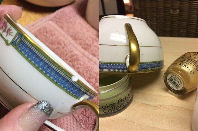 Linda Champion-Orsuto repairs damaged antiques using acrylic or gel.