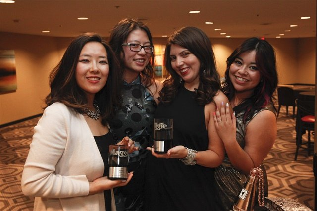 <p>NAILS' Yuiko Sugino, Kim Pham, Beth Livesay, and Sigourney Nunez celebrate their wins.</p>