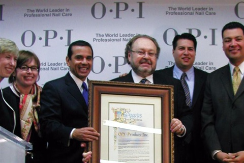 <p>From left to right: City council member Wendy Gruehl, OPI's Suzi Weiss-Fischmann, Mayor Antonio Villaraigosa, OPI's George Schaeffer, State assembly member Felipe Fuentes, and state senator Alex Padilla acknowledge OPI's contribution to the city of Los Angeles.</p>