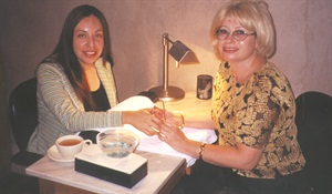 <p>My nail tech, Irena Vayn, insisted on giving me a freehand French manicure -- her specialty.</p>