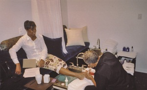 "<p>LaShaun Brown-Glenn getting a pedicure for a NAILS ""On the Road"" article</p>"