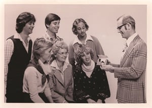 <p>Way back then ... it was a family affair. Dr. Stuart Nordstrom (right) started Creative Nail Design out of the family garage. Daughter Jan Arnold (seated, left) worked for the company from the very beginning.</p>
