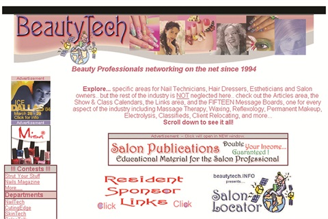 Beautytech's current homepage takes readers into 750 web pages and 15 message boards.