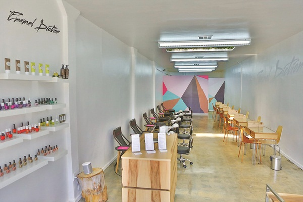 <p>Nontraditional pedicure and manicure stations lead to an art installation.</p>