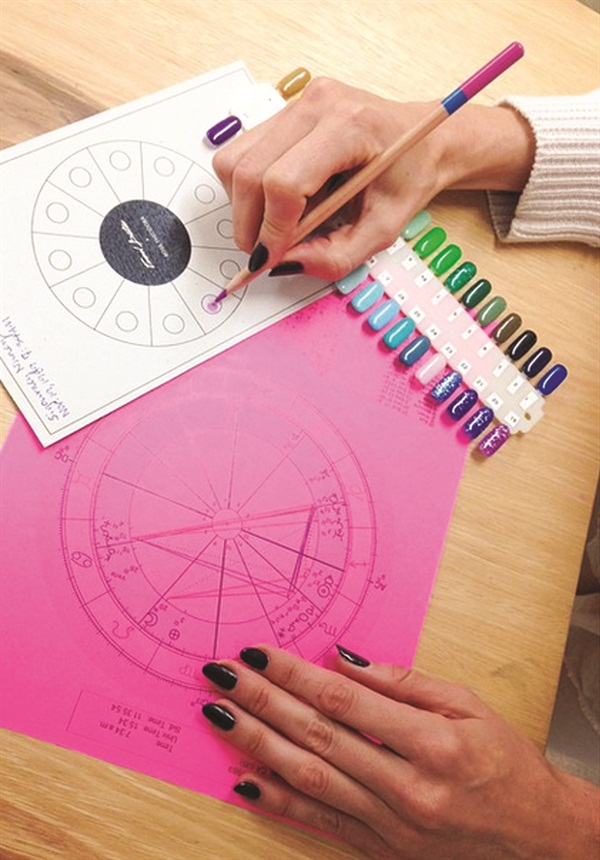 <p>Resident astrologer Rose Theodora mapped out a color wheel according to my natal chart. </p>