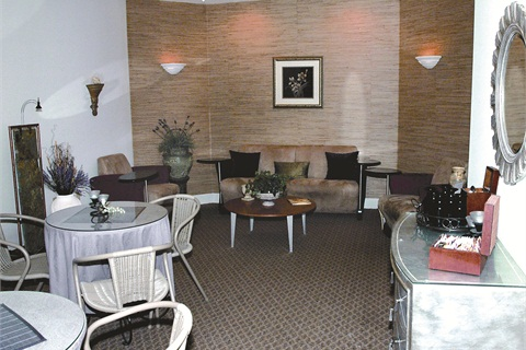 <p>The spa's waiting area reflects the tranquil look that was part of the whole redesign.</p>