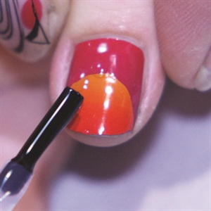 Two toned nails with empower nail art technique nails magazine wipe the nail with isoprophyl alcohol apply a coat of your favorite gel or gel polish top coat to seal the edges of the film and cure for the prinsesfo Images
