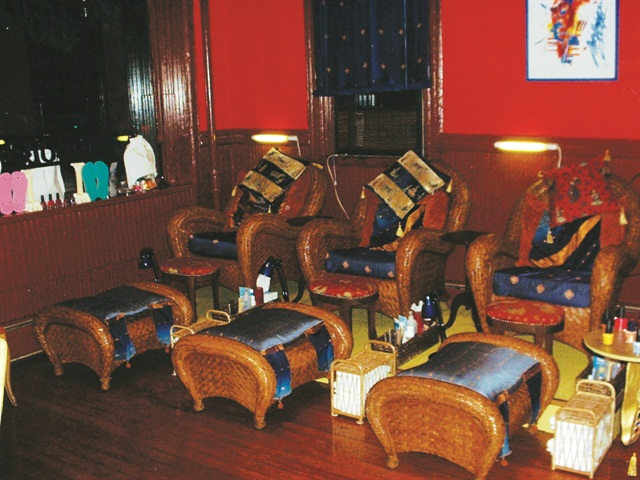 <p>Owner Skyy Hadley looked high and low to find these chairs to match her Moroccan themed salon. She wanted to make sure any client would be comfortable for her pedicure.</p>