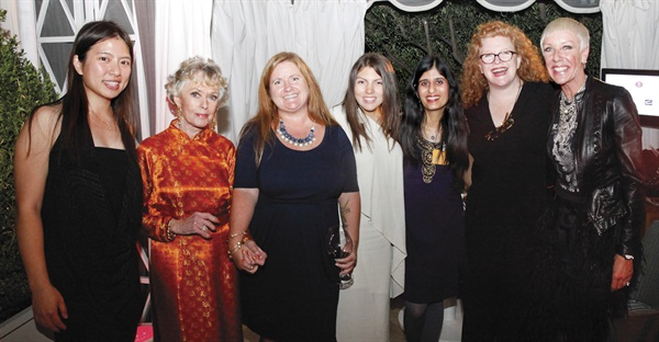 From left to right: VietSALON's Kim Pham, Legacy of Style honoree Tippi Hedren, Hannah Lee, Salon Fanatic's Beth Livesay, NAILS' Sree Roy, Cyndy Drummey, and CND's Jan Arnold