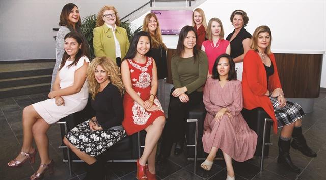 <p>I love this team! The NAILS Magzine staff from L to R (back row): Carla Benavidez-Harris, Cyndy Drummey, Michelle Mullen, Shannon Rahn, Katherine Fleming, Laura Nelson, (front row): me, Danielle Parisi, Anh Tran, Kimberly Pham, Yuiko Sugino, Tracy Rubert.</p>