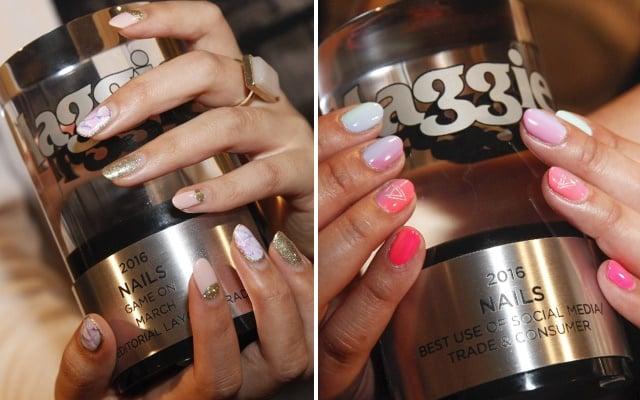 <p>A close-up of the nail art and awards.</p>
