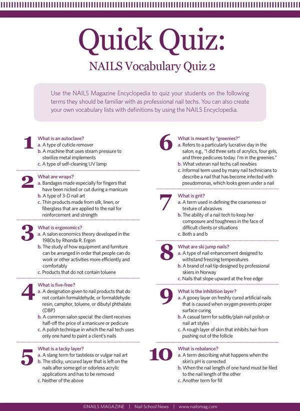 Quick Quiz: NAILS Vocabulary Quiz 2 - Education - NAILS Magazine