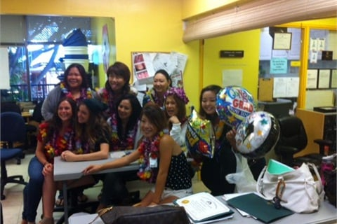 <p>New graduates at Honolulu Nail Academy celebrate completion of the nail tech program.</p>