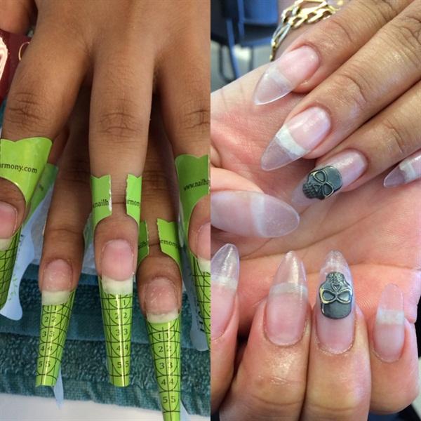 <p>Acrylic sculpted nails using Harmony nail forms.</p>
