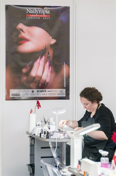 This is me, nervously beginning my competition nails. I was going on a few hours' sleep but I dove right in.