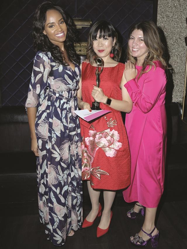 <p>Actress Meagan Tandy, Daytime Beauty Award Winner Yoko Sakakura, and me.</p>