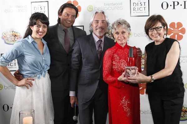OPI executive VP Suzi Weiss-Fischmann along with Bellacures founder Samira Far, Bellacures Brentwood owner Gerard Quiroga, and event producer Michael Habicht, presented Hedren with the Believe, Achieve, Empower Award for her selfless work.