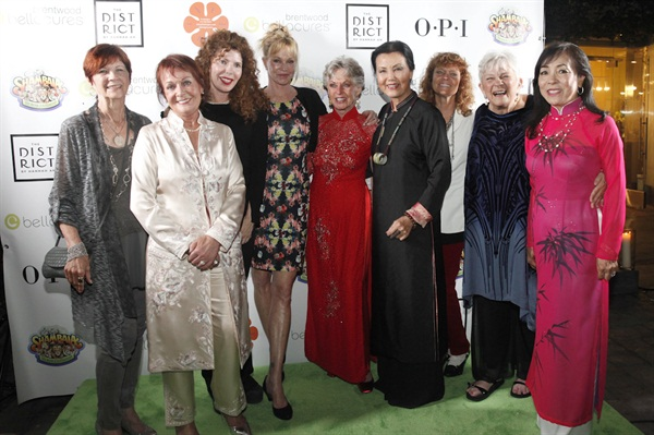 "Hedren was joined onstage by friends, her daughter Melanie Griffith, legendary Vietnamese actress Kieu Chinh, whom Hedren also aided after the war, Thuan Le, one of the first Vietnamese manicurists (far right), and Dusty, the amazing nail tech who flew into Hope Village to initially teach the ""Original 20"" women how to do nails."