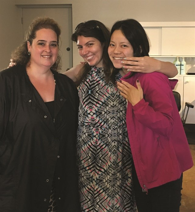 That's me (center) with nail tech of 20 years, Sherri Caneda (left) and my friend Yayoi Aoyama (right), who just received her first manicure.