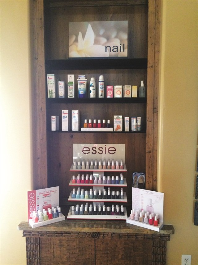 Retail is a huge part of Red Door's interior with the latest Essie lines accounting for the nail section.