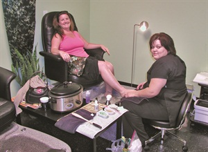 I enjoyed my hot stone pedicure from cosmetologist Bobbie Allred, who just recently started performing pedicures in addition to doing hair.