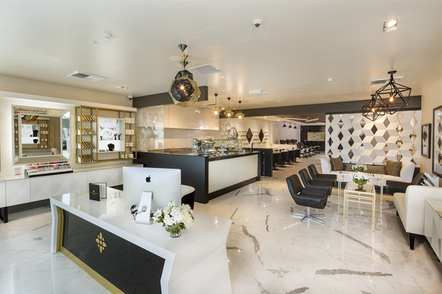 The Nail Only Salon Serves Newport Costa Mesa Area Of South Orange County Calif A Spacious Black And White Interior With Gold Accents Provides Warm