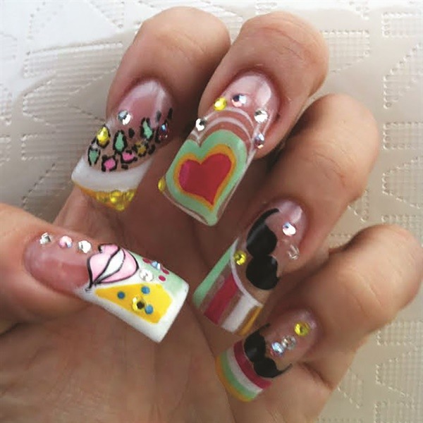 Mexican nail tech Roberta Flores created this vibrant nail design.