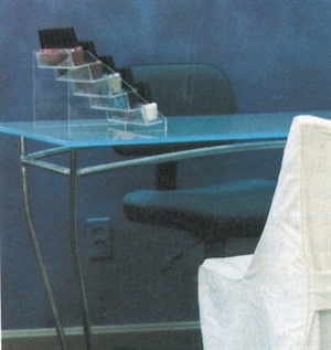 <p>Rebecca Moore retails polishes directly from the salon's nail tables.</p>