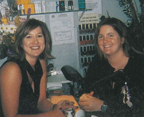 <p>NAILS editor Hannah Lee (right) visits Shelly Morley</p>
