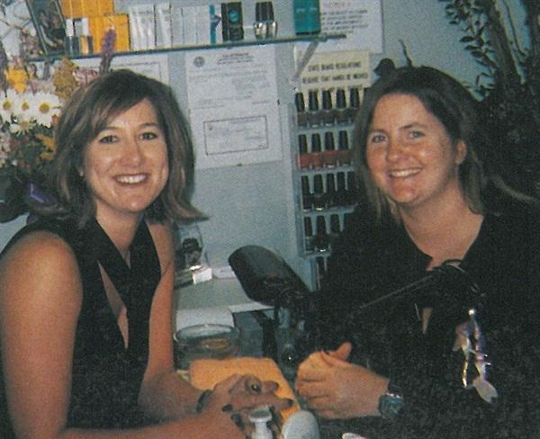<p>NAILS editor Hannah Lee (right) visits Shelly Morley</p>