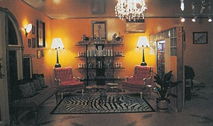 <p>The furniture and lighting in the waiitng area and throughout the salon were hand-picked from various antique shops in the Northeast. </p>