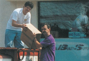 <p>During the UPS strike, Tweezerman's Dal La Magna sent trucks like this one into the city. One person would watch the double-parked truck with the other one would run out and deliver packages.</p>