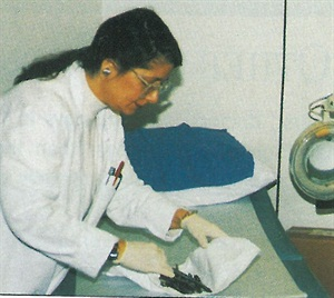 <p>The examination room, where clinical research coordinator Janet Holwell puts away some testing equipemnt, is where Dr. Scher examines people interested in participating in his studies. Many of the candidates hear about the studies through Dr. Scher himself, as he has appeared in numerous television and print media, including a recent series on brittle nails that was broadcast on ABC.</p>