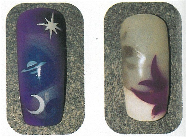 <p>(left) Gel was applied over a tip to embed this cosmic design. (right) This airbrushed design was embedded using acrylic over a French tip. </p>