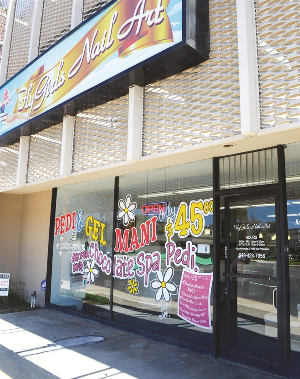 <p>Fly Girls Nail Art is located in a bright, sunny retail space in Costa Mesa, Calif.</p>