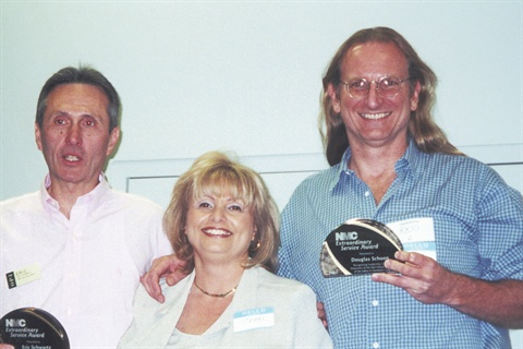 <p>Schoon has been very active in legislation that affects the nail industry. He's shown here with fellow Nail Manufacturers Council Safety & Standards committee members Eric Schwartz (ofet) of OPI and Gerri Cevetillo of Ultronics (center).</p>