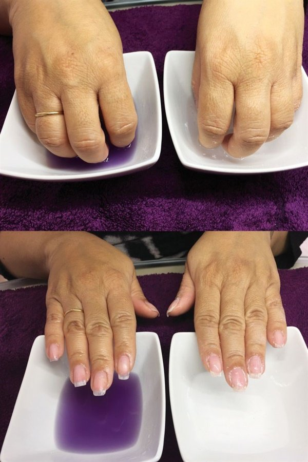 <p>The hand on the left was soaked in the (purple) Soothing Soak Off Product Remover while the hand on the right was soaked in acetone.</p>