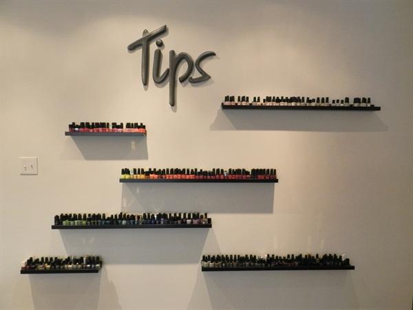 Tip's unique nail polish display.