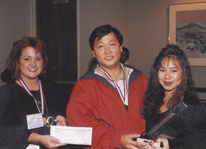<p>Christopher Truong (center), shown here in 1995.</p>