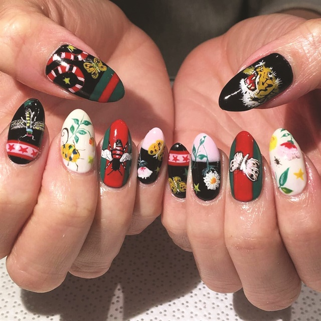 Vanity Projects nail artists often look at fashion trends to influence their manicures, like in this Gucci print design.