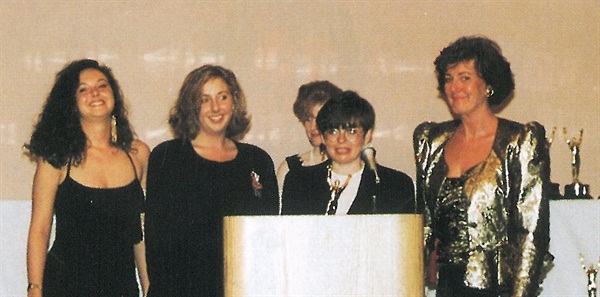 <p>Susan Weiss of OPI Products is flanked by OPI distributors from the United Kingdom. Left to right, Lisa White, Julie White, and Lena White.</p>