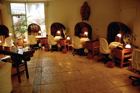 Private space allows guests to experience their nail services while still enjoying an open, airy spa atmosphere.
