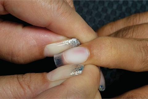 Gently Press On Each Side Of The Nail With Your Thumbs To Hold C Curve In Place While Product Continues Cure Repeat Steps Two Through Five