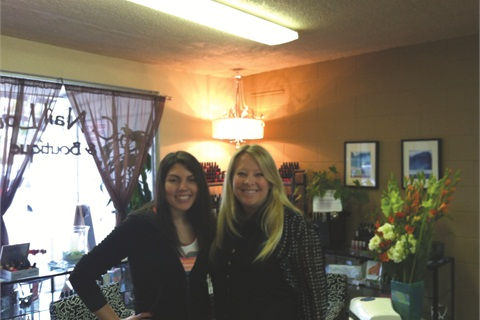 <p>That's me on the left with nail stylist Vicki Ornellas.</p>