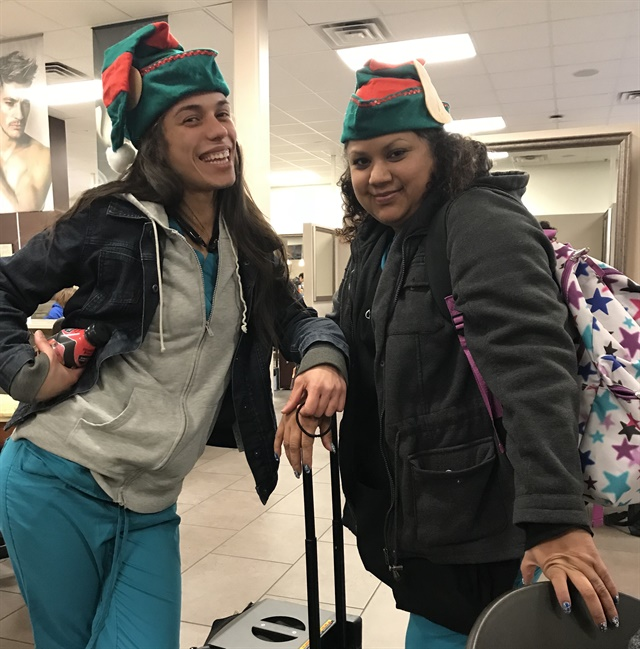 <p>My classmate and I dressed in spirit during the shortened Christmas week.</p>