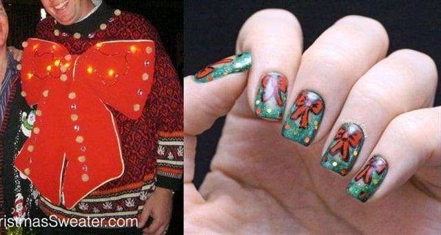 "<p>Sweater: <a href=""http://rockyouruglychristmassweater.com"">http://rockyouruglychristmassweater.com</a>; Nail art: <a href=""http://copycatclaws.blogspot.com/2013/12/holiday-wreath-nail-art.html"">http://copycatclaws.blogspot.com</a></p>"