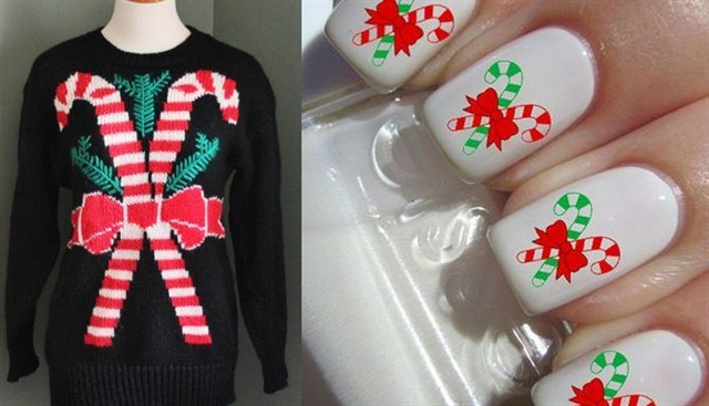 "<p>Sweater:<a href=""https://www.etsy.com/shop/bluebutterflyvintage?ref=l2-shopheader-name""> Blue Butterfly Vintage</a>; Nail art: <a href=""https://wanelo.com/p/18076752/christmas-candy-cane-nail-decal-tattoos"">www.wanelo.com</a></p>"