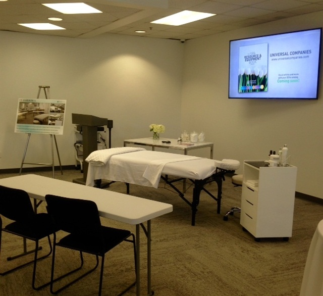 The center has two large general classrooms, a private waxing classroom, and a separate nail classroom.