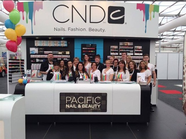 <p>The Pacific Nail & Beauty group in the CND booth at the 2014 Sydney Expo. </p>